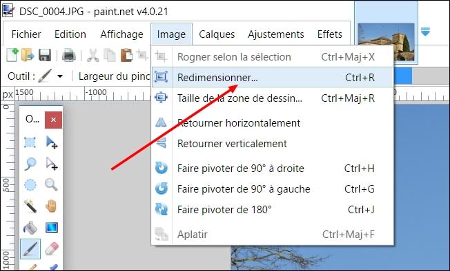 ouvrir la boite de dialogue avec Paint.NET