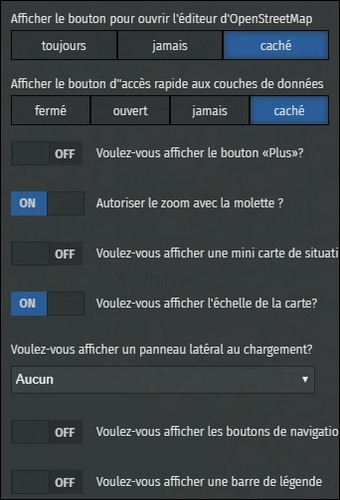 options d'interface