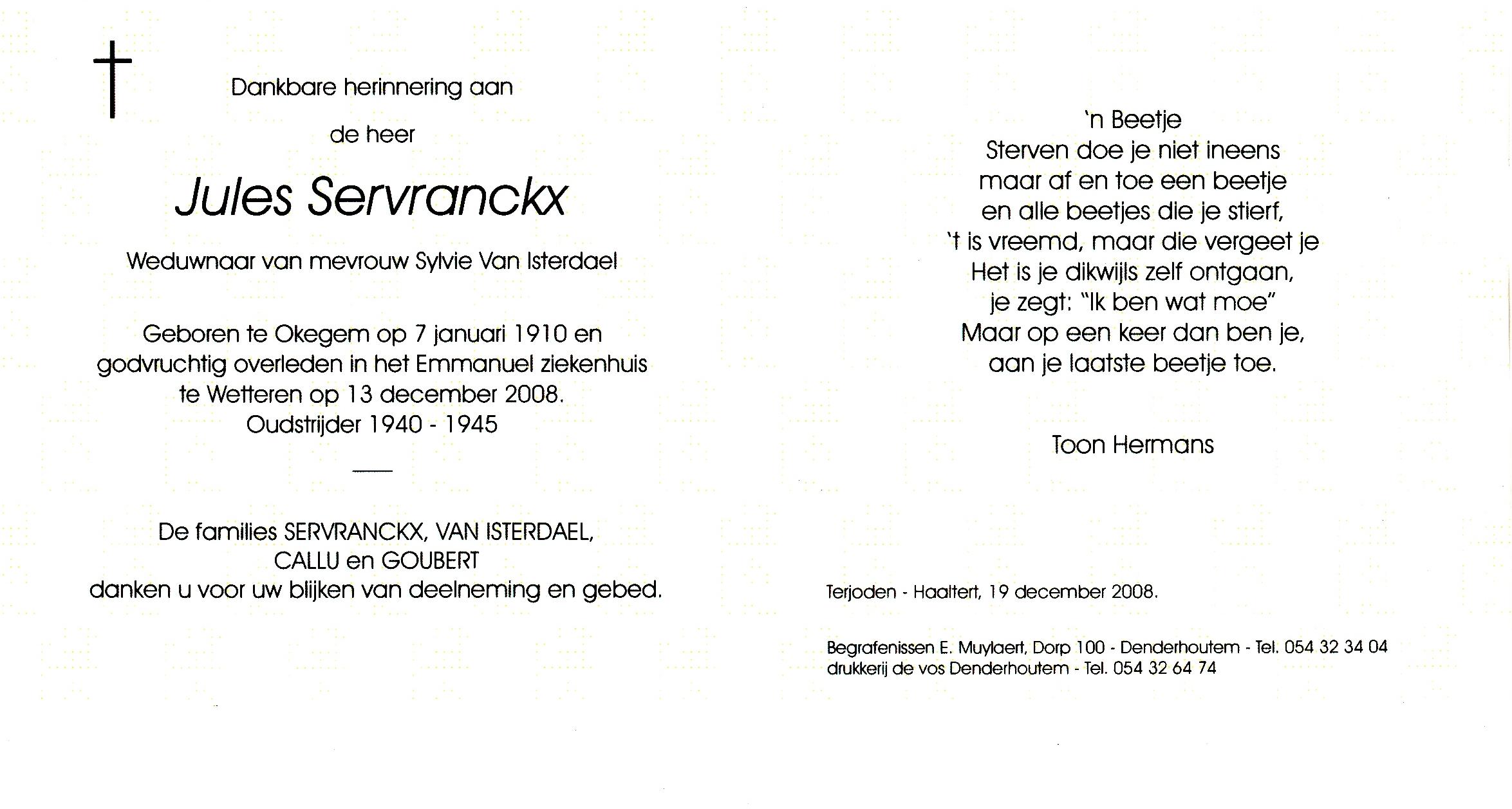Julius Karel Servranckx Family Tree By Willy De Smedt