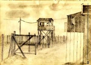 Partie du camp américaine, dessin du Sgt. John Shay. Source : site du 100e Bomb Group