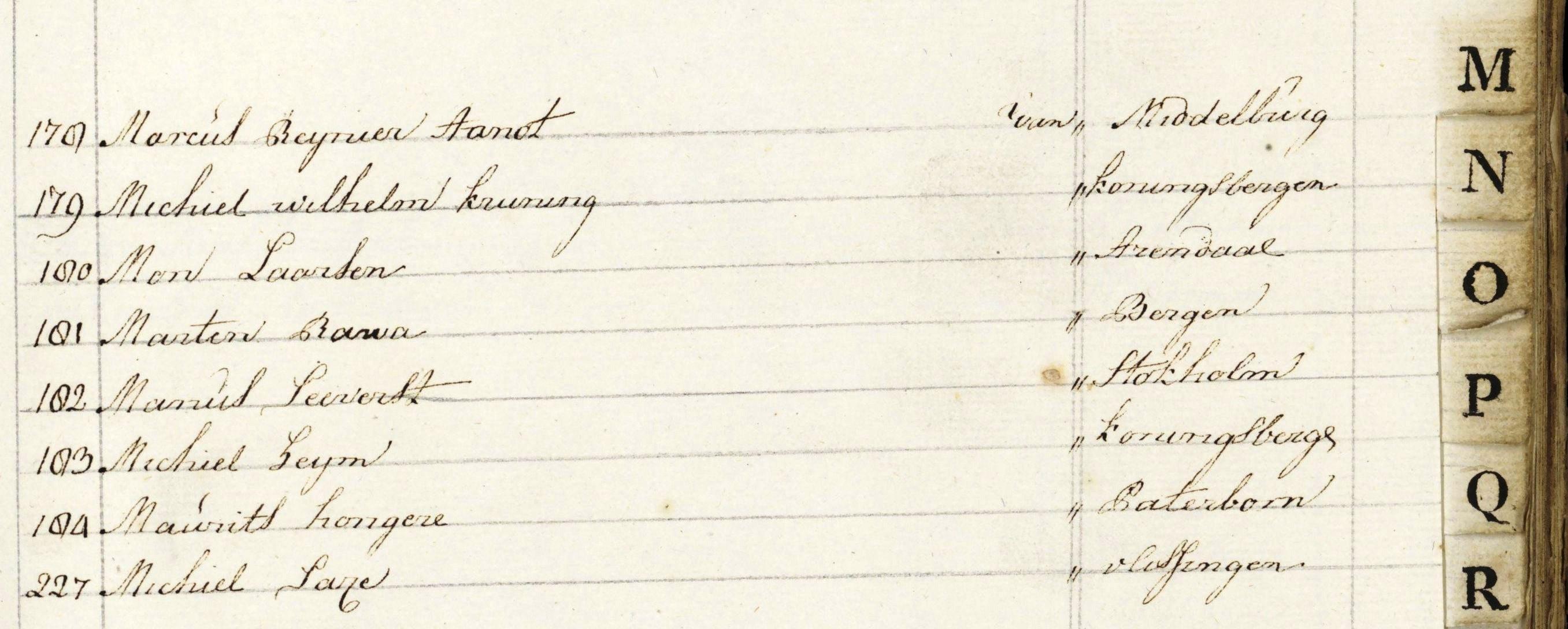 Maurits Hongere, Hauptbuchregister 1792